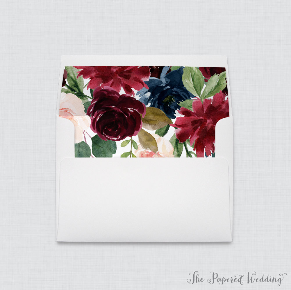 Navy & Marsala Wedding Envelope Liners - White A7 Envelopes With Burgundy Floral Liners, Rustic Flower 0010