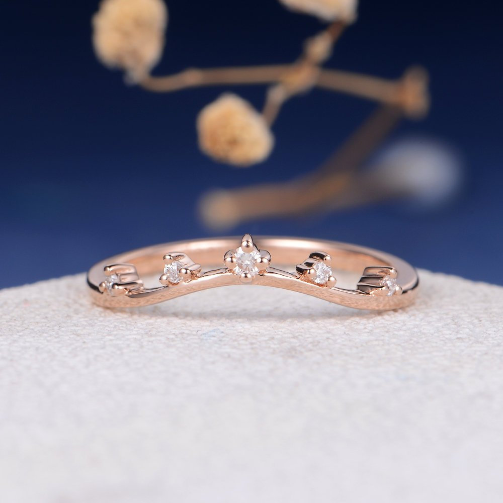 Custom Matching Band Diamond Cluster Wedding Women Rose Gold Bridal Ring Anniversary Curved Personalized Promise Engraving