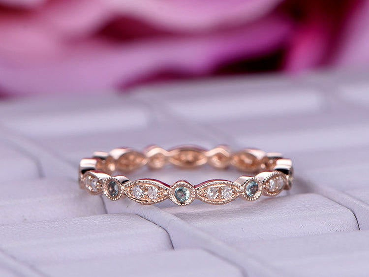 Moissanite Alexandrite 14K Rose Gold Wedding Ring Matching Band Full Eternity Marquise Vintage Stackable Women Bridal Anniversary Gift