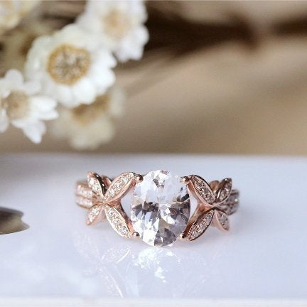 Gorgeous Morganite Engagement Ring, 79mm Oval Cut Light Pink Diamond Wedding 14K Rose Gold Anniversary Ring