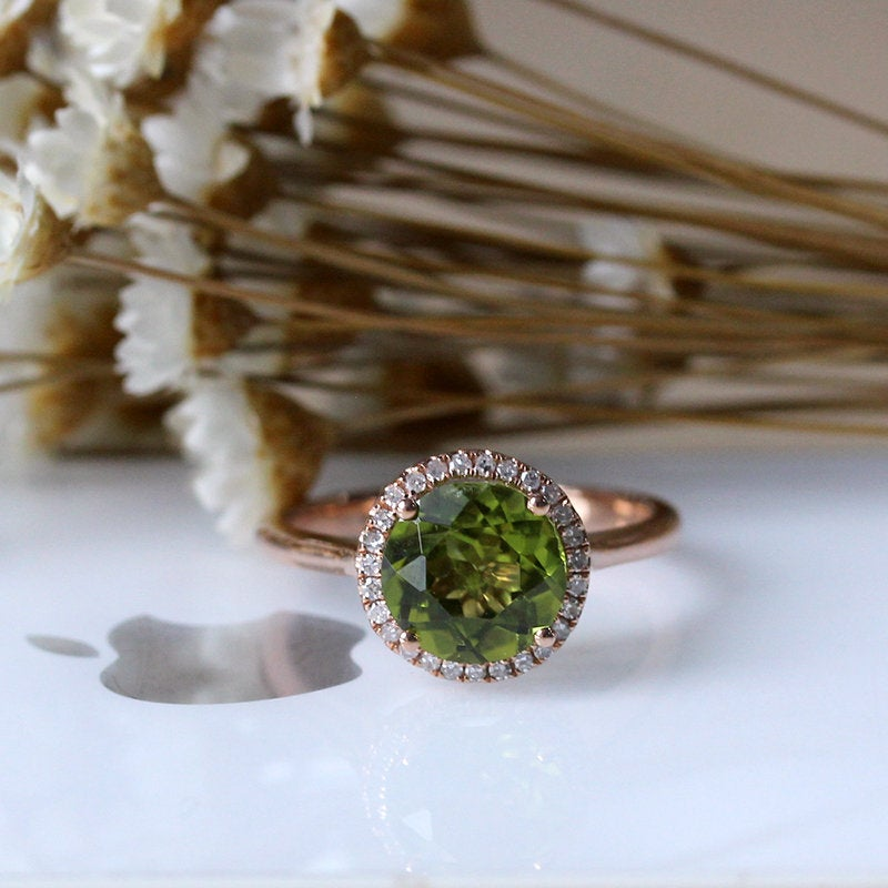 Beautiful Green Stone, August Birthstone Natural Peridot Engagement Ring, Diamond Wedding 14K Rose Gold Promise Ring
