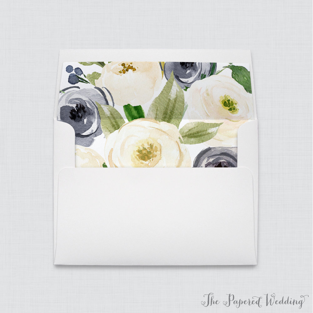 Wedding Envelopes With Liners - White A7 Navy & Cream Floral Envelope Liners, Blue Flower 0012
