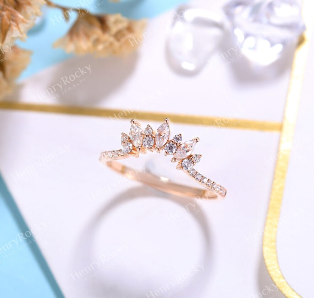 Vintage Moissanite Wedding Band Women | Rose Gold Bridal Ring Unique Curved Ring| Promise Anniversary