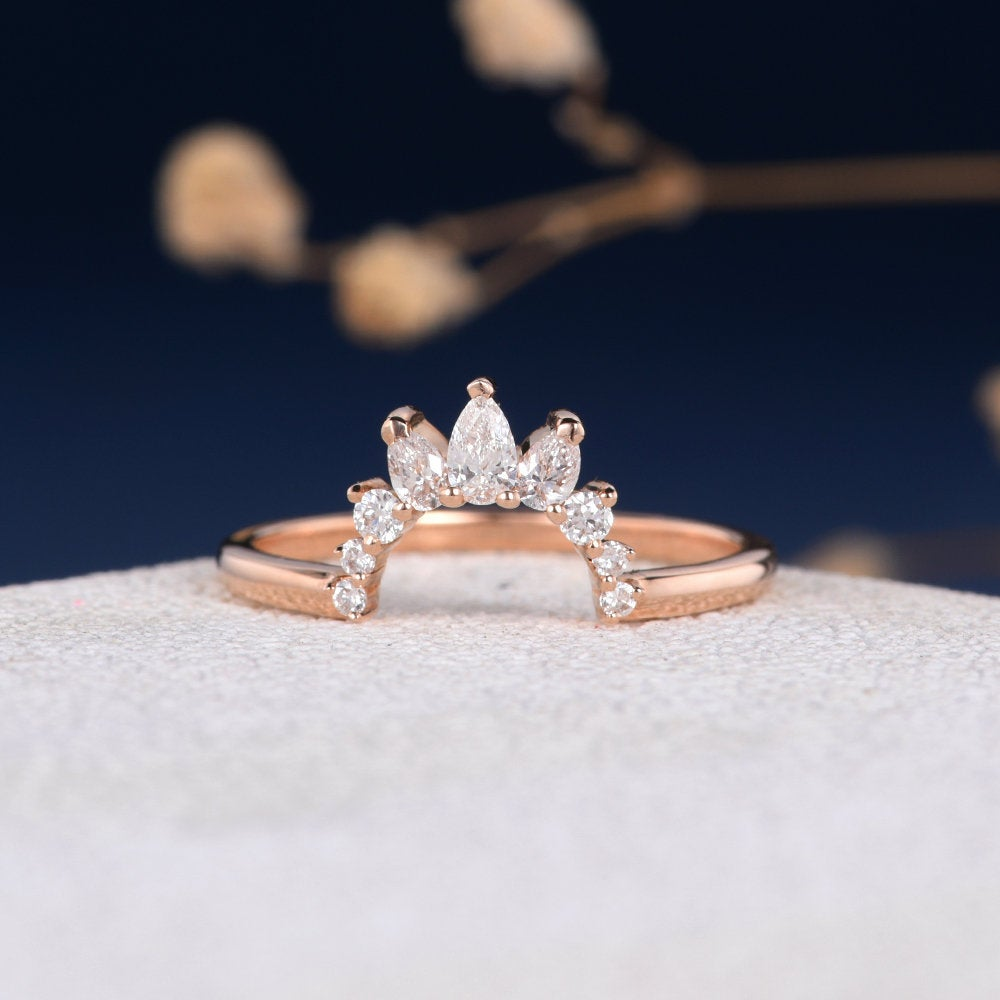 Curved Custom Band Pear Shaped Diamond Wedding Women Rose Gold Unique Ring Half Halo Antique Stacking Promise Gift Crown