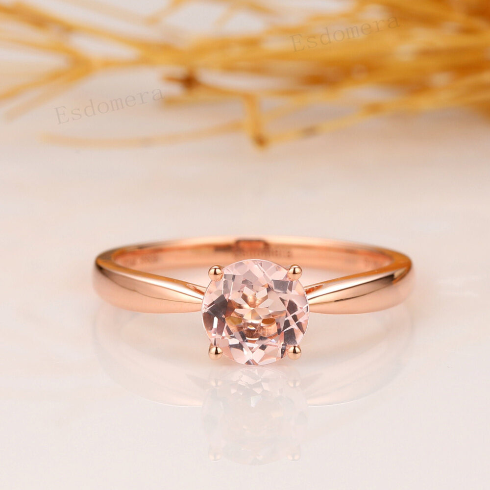 Morganite Solitaire Ring, Round Cut 6.5mm Engagement Simple 4 Prongs Wedding 14K Rose Gold, Anniversary Ring