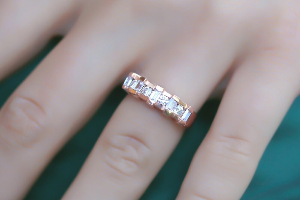 Diamond Band, Bridal Baguette Ring, Wedding Stacking Rose Gold Band For Women