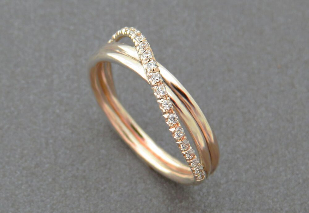 Unique Engagement Ring, Diamond Wedding Infinity Rose Gold Band, Pave 14K Jewelry