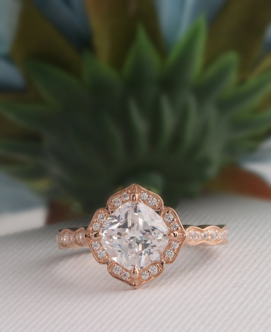 Art Deco Ring, Cushion Cut 7mm Simulated Diamond Milgrain, Moissanite Floral Wedding 14K Rose Gold, Engagement Ring