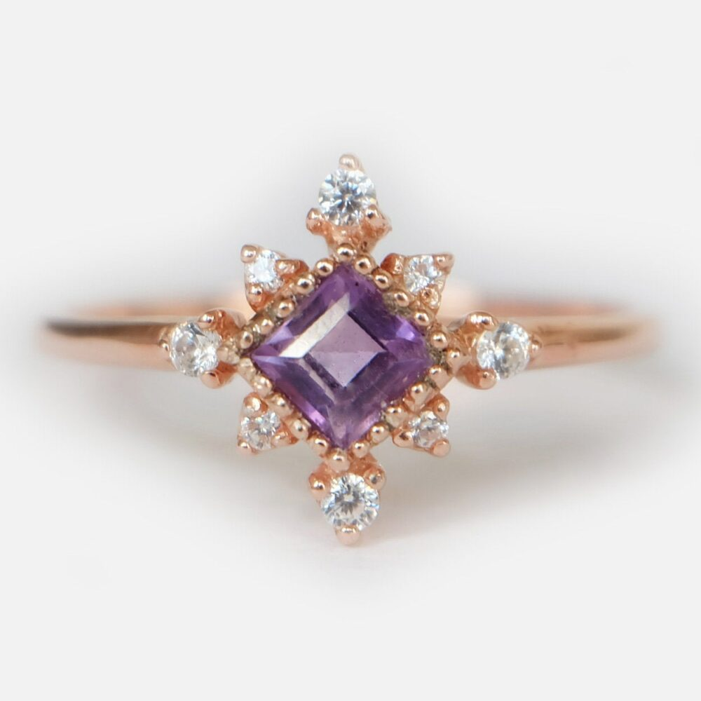 Amethyst Ring, Cluster Natural Wedding Unique Rose Gold Promise Ring, Diamond Ring