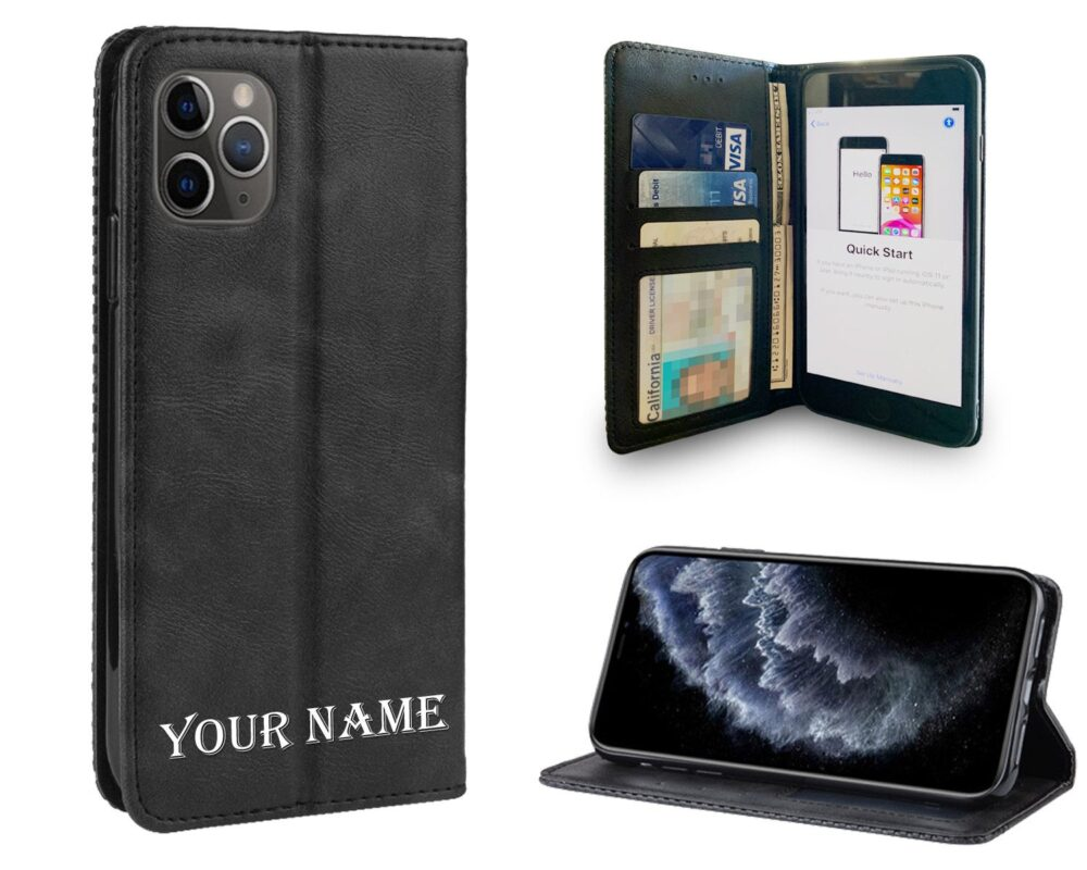 Leather Wallet Personalized Phone Case With Screen Protector Iphone 11 Pro Max, Xr, 8 Plus, 7 6S 6 Gift For Mom