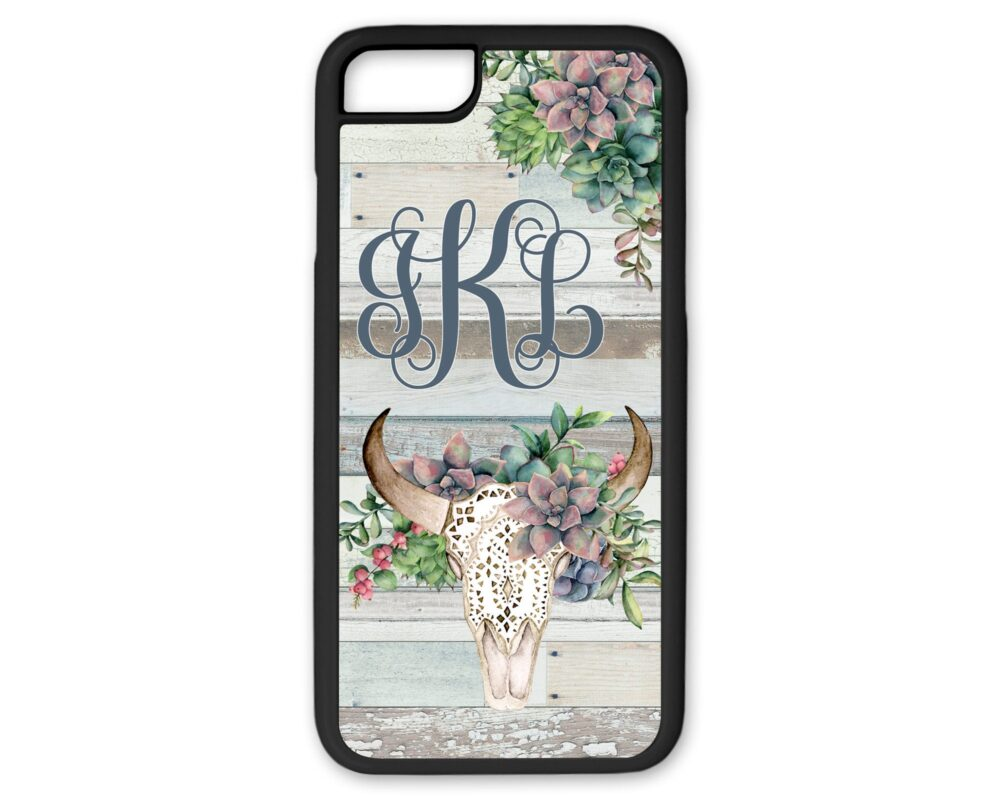 Green Succulent Floral Bull Skull Monogram Phone Case Custom Name Iphone Cow With Flowers 8 Plus White