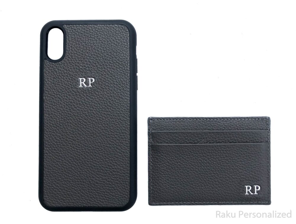 Custom Leather Iphone Xr Case & Business Card Holder Wallet Gift For Men, Personalized Gray Embossed Initial Mens Phone