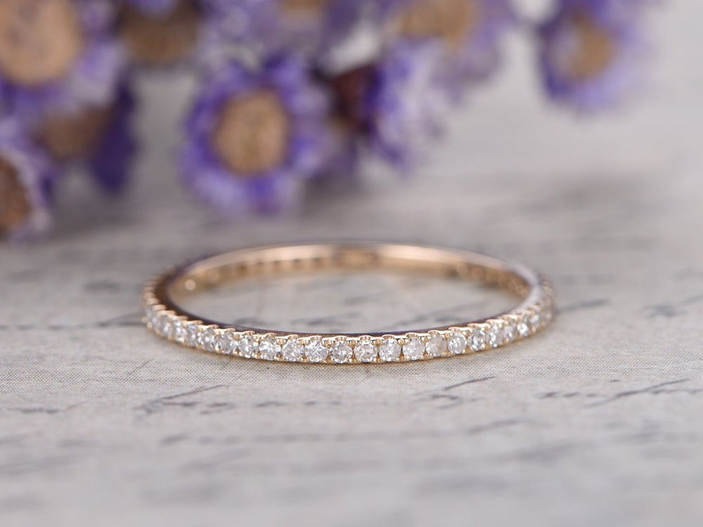 Micro Pave Diamond Engagement Ring, Full Eternity Wedding Bands Women, 14K Rose Gold Bridal Ring, Stackable Band, Custom Made Fine Jewelry, Thin