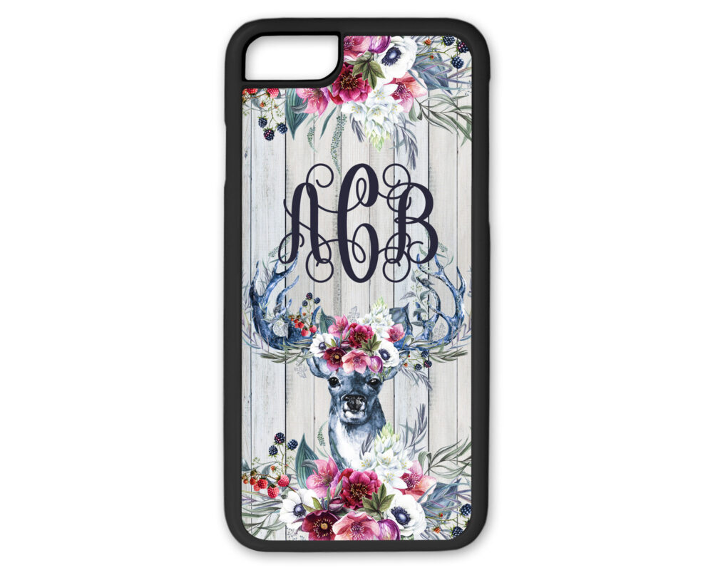Blue & Pink Floral Deer With Antlers Flowers Monogram Phone Case Custom Name Iphone 8 Plus