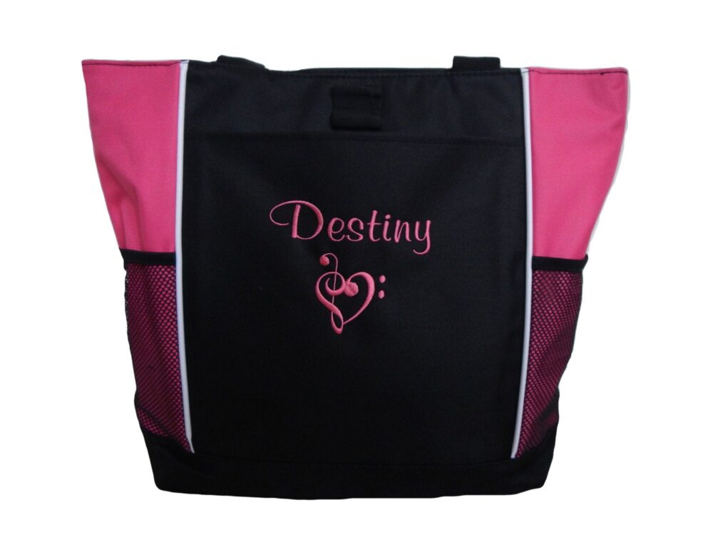 Tote Bag Personalized Heart Clef Music Notes Religious Quote Church Choir Band Teacher Chorus Theater Drama Glee Club Musical Theatre