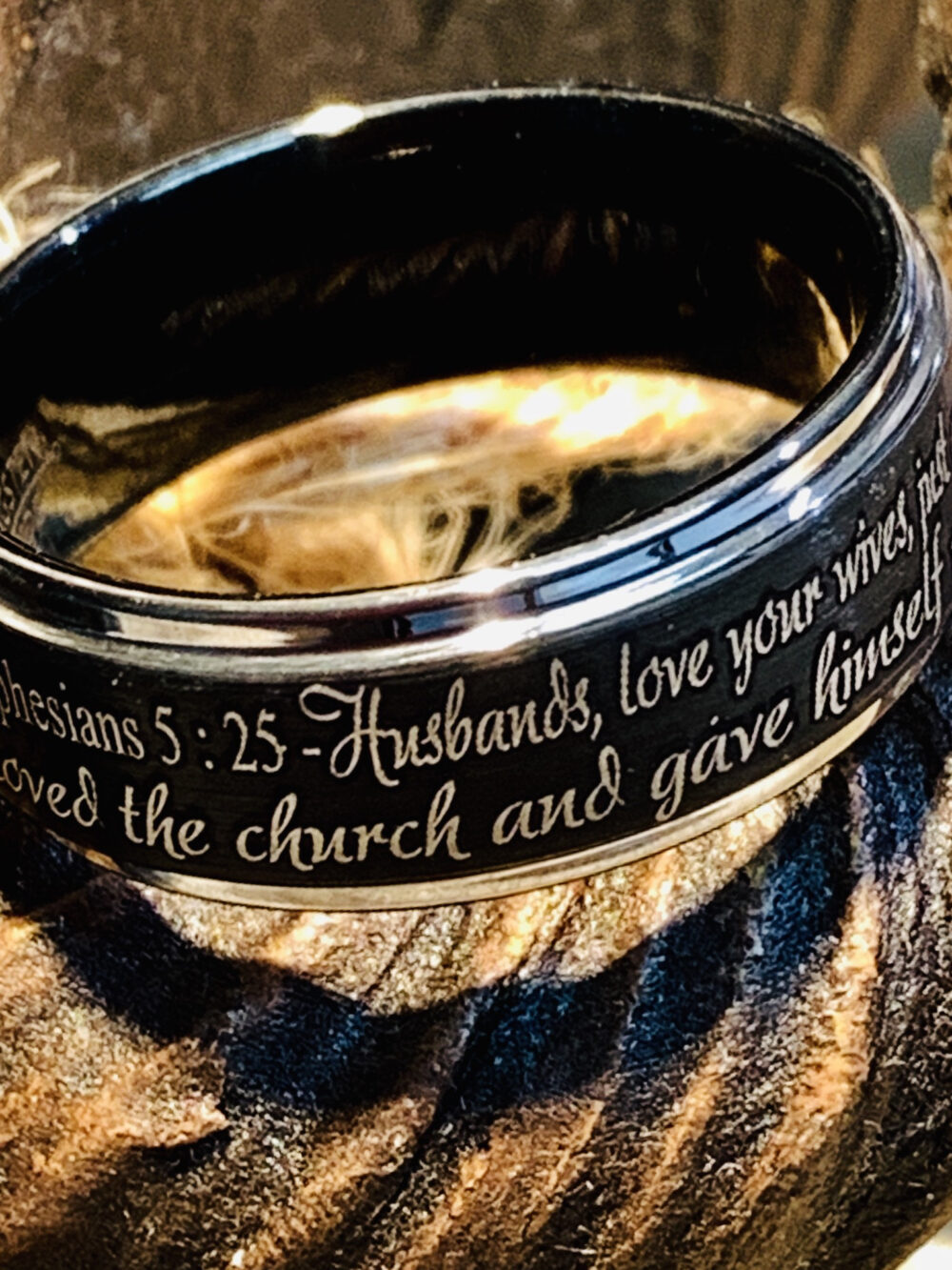 Tungsten Ring, Wedding Custom Engraved Ephesians Proverb Mens Promise Personalized Christian Ring