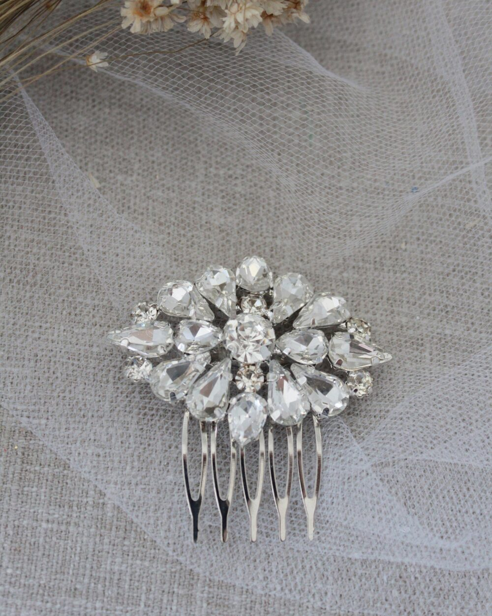 Cluster Teardrops Jeweled Bridal Comb, Wedding Hair Rhinestone Jewelry, Bride Pins