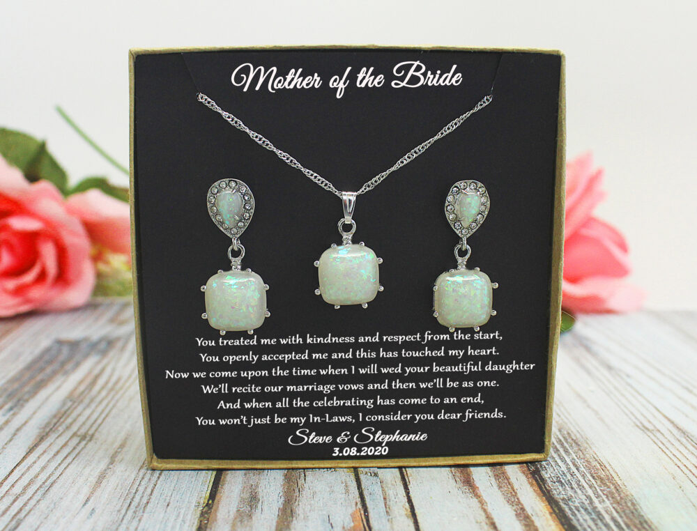 Mother Of The Bride Gift Necklace From Bride, Mother Groom Gift, Stepmother Bride, Opal Earrings, Wedding Gift, Mother in Law