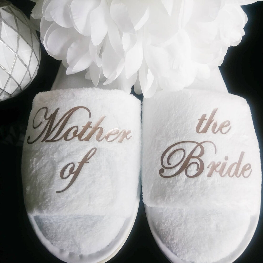 Bride Slippers - Personalized Bridesmaid Hen Mother Of The Other Titles Available