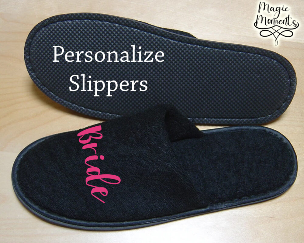 Close Toe Black Slippers Customized Spa House Wear Bride Bridesmaid Gift For Her Wedding