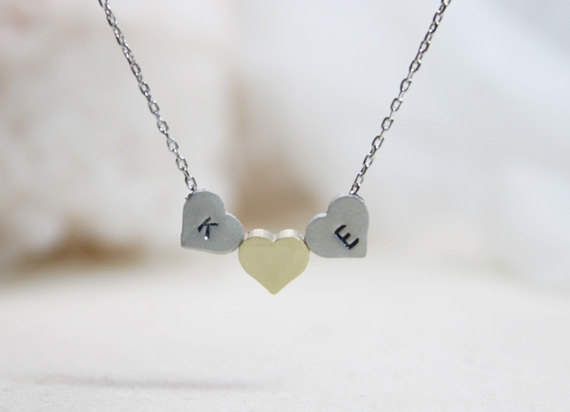 Personalized Initial Three Heart Necklace, Custom Trois Heart Necklace, Gift For Mom, Friend, Wedding Gift, Gift Idea -S2306