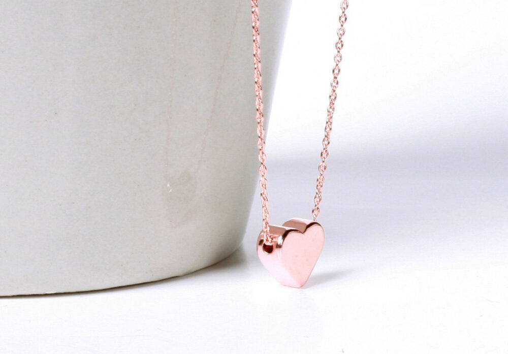 Rose Gold Heart Necklace, Rose Gole Filled Chain, Hand Stamped Initial, Wedding, Bridesmaids