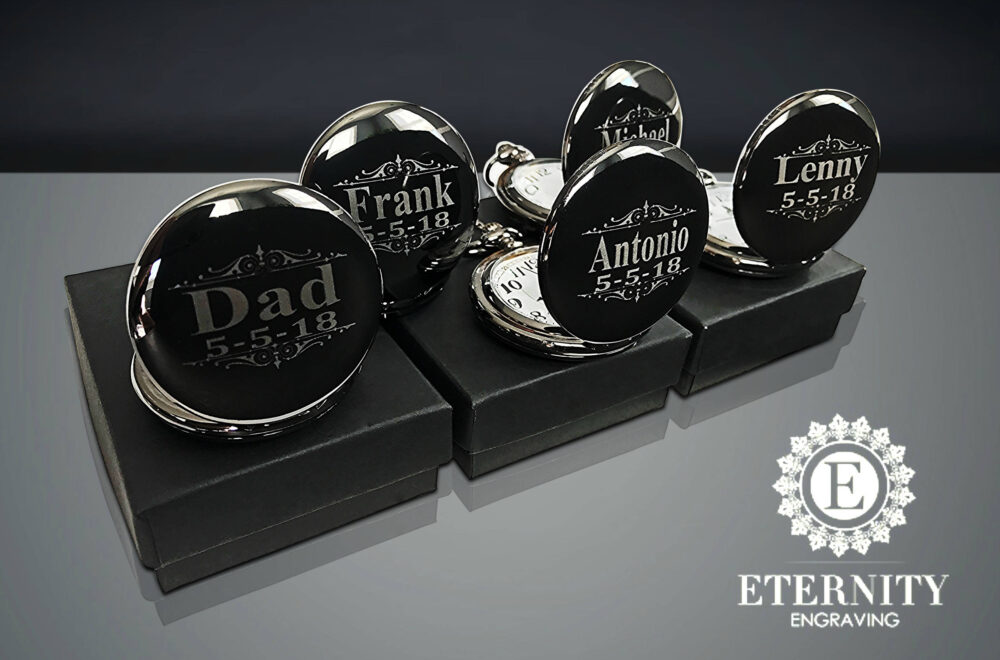 8 Personalized Gifts - Laser Engraved Pocket Watches Groomsmen Wedding For Him Best Man