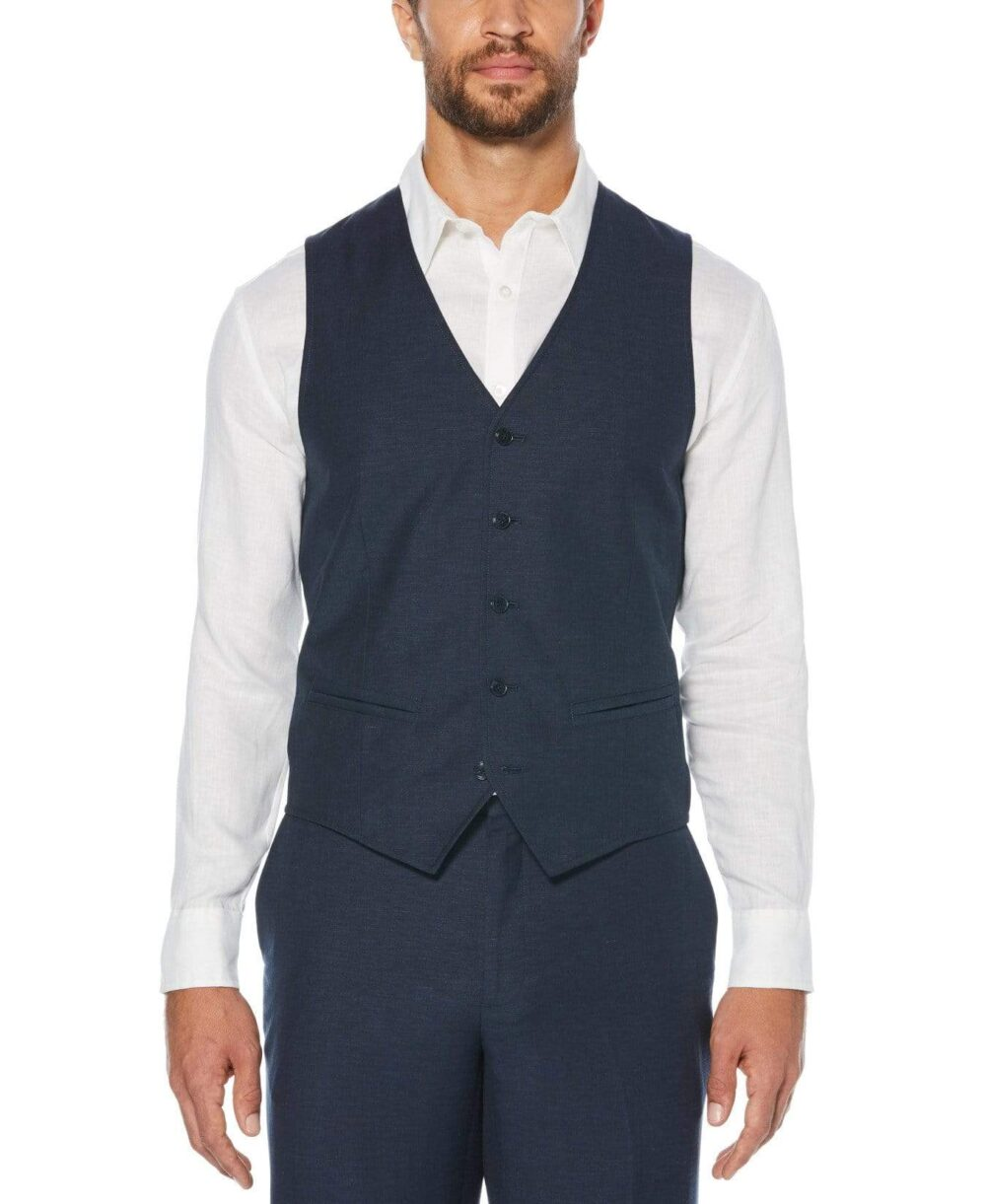 Cubavera Men's Vest in Dress Blues, Size Medium, Linen Blend