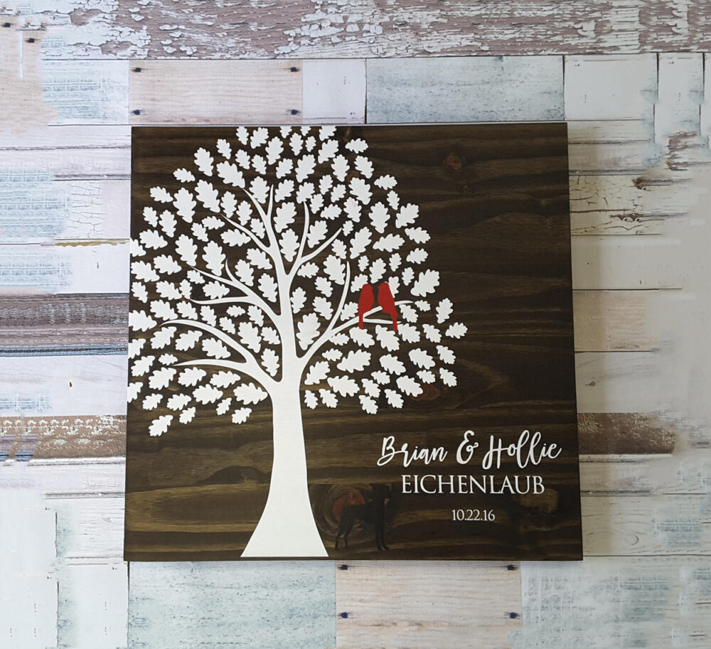 Oak Tree Wedding Guest Book, Book Tree, Leaf Wood Guestbook