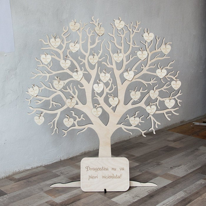 Wishing Tree Wooden Guest Book | Wedding Wish Tree Guest Book Personalized Hearts