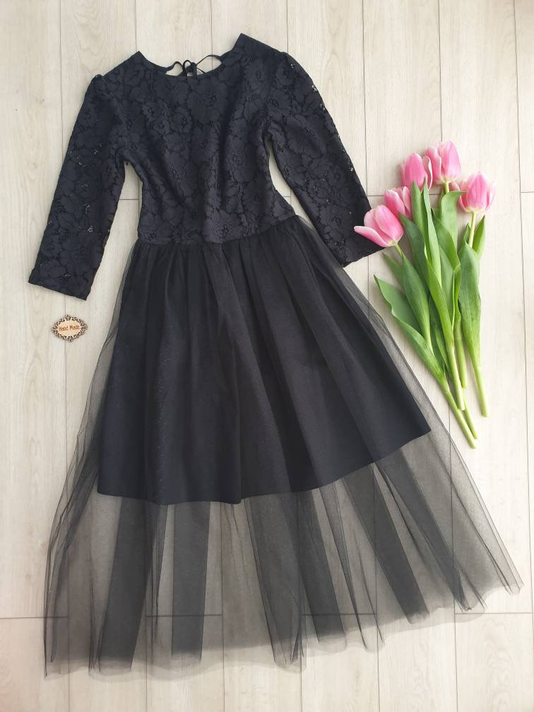 Matching Black Womens Dresses Womens Dress Guipure Mommy & Me Outfits Elegant Guipure Little