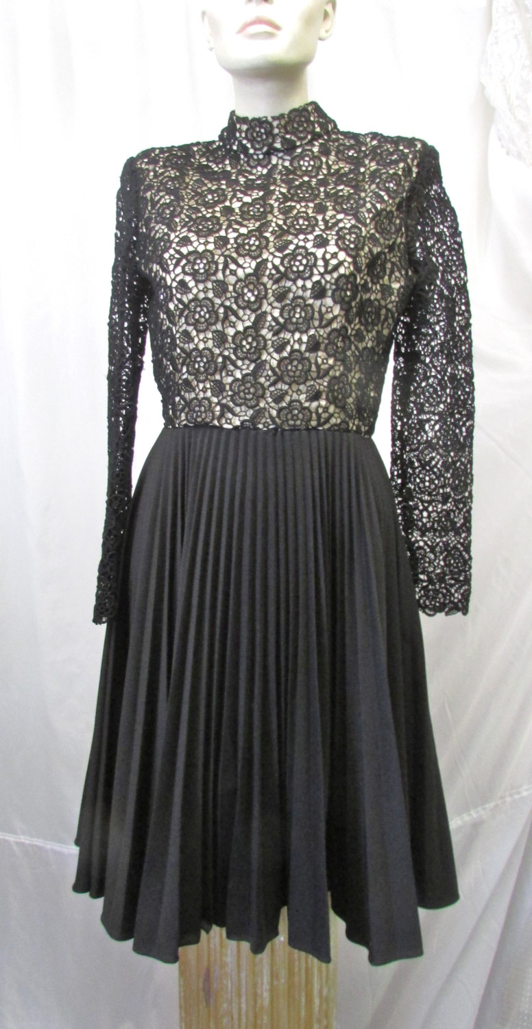 Vintage 1960's 1970's Dress Little Black Lace Bodice High Neck W Rhinestones Polyester Pleated Skirt Mod Party Dance