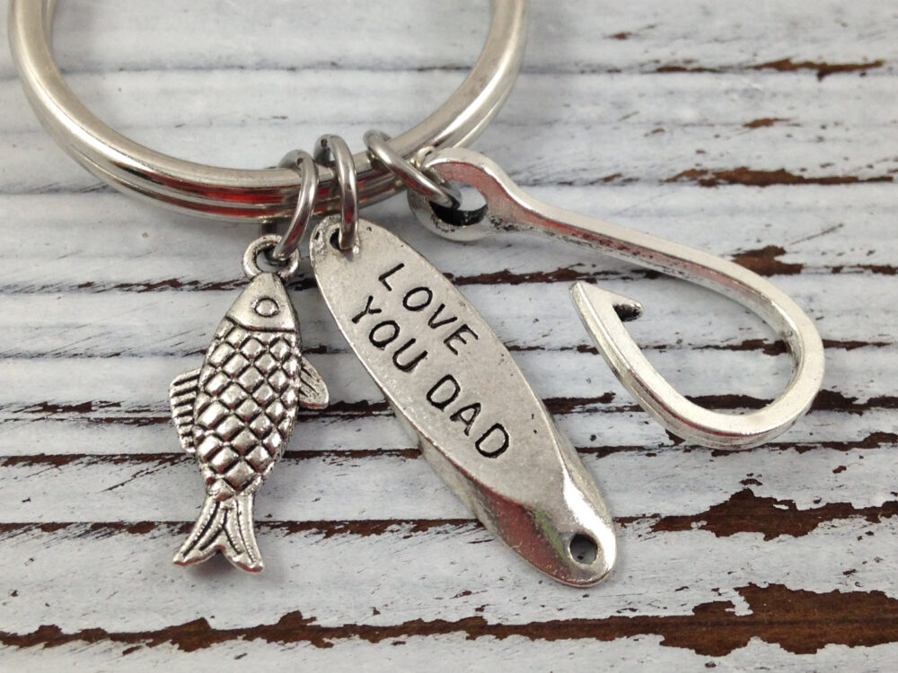 Fishing Keychain, Father's Day Fish Charm, Hook Love You Dad Gift For Dad, Gift, Father Birthday