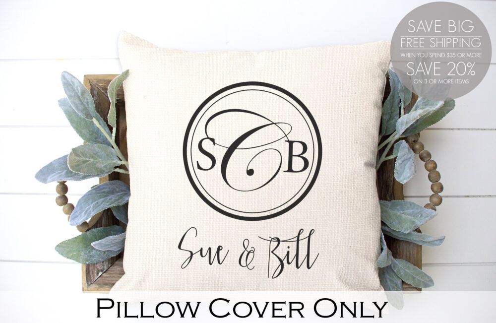 Circle Monogram, Monogram Pillow, Wedding Gift, Burlap Pillow Cover, Personalized Monogrammed Engagement Gift