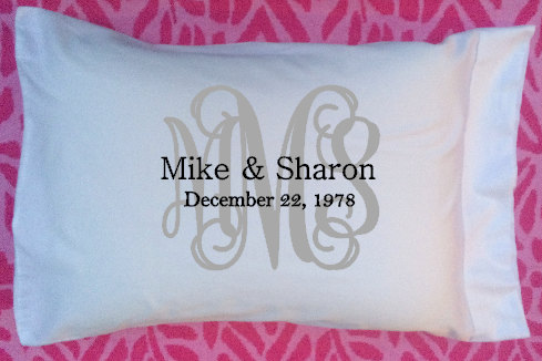 Wedding Gift, Monogram Personalize Pillow, Pillowcase, Valentine's Day Gift