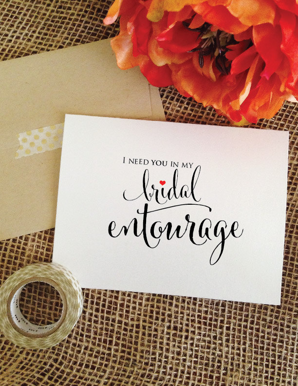 I Need You in My Bridal Entourage Ask Bridesmaid Proposal Card Will Be Wedding Card Ask Maid Of Honor | Stylish
