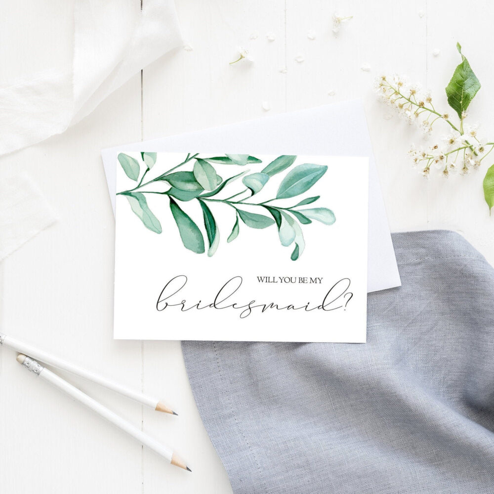 Greenery Bridesmaid Proposal Cards, Will You Be My Bridesmaid, Wedding Note Proposal, You Be My Maid Of Honor