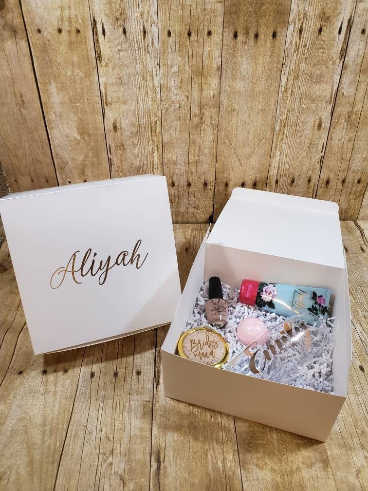 Bridesmaid Proposal Box, Personalized Box, Proposal Maid Of Honor Custom Name Bridesmaid Gift Will You Be Box