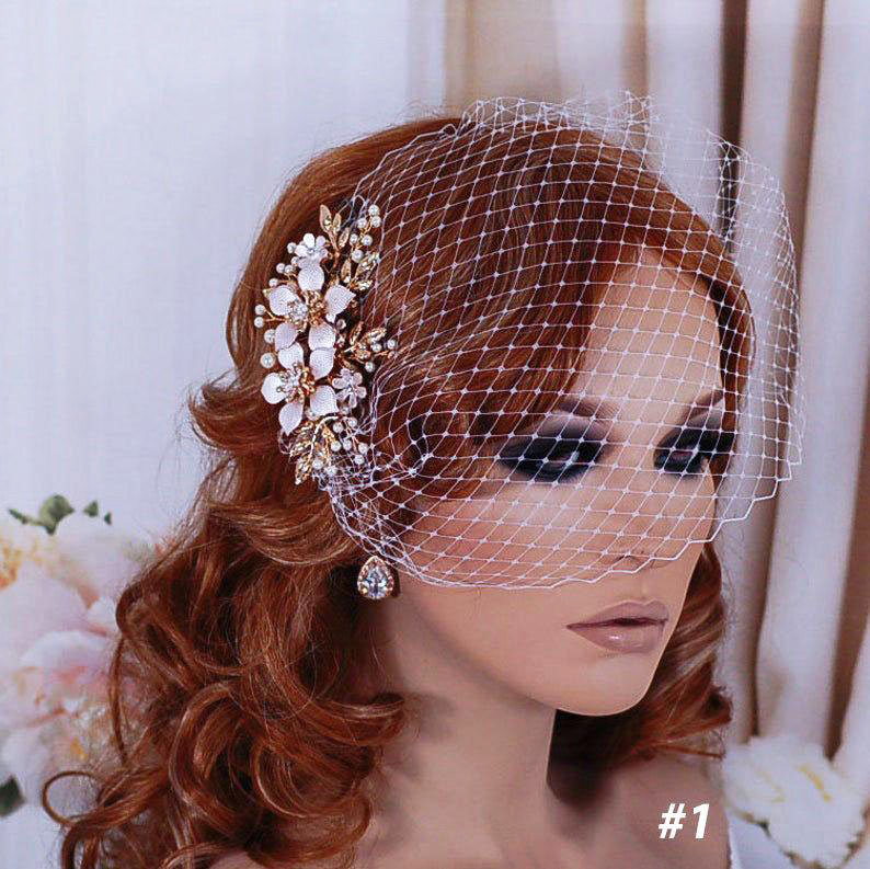 Bridal Wedding Birdcage Veil Bird Cage Veils Hair Hairpiece Floral Rose Gold Accessory Jewelry Headpiece Head Piece Short Blusher Comb Clip