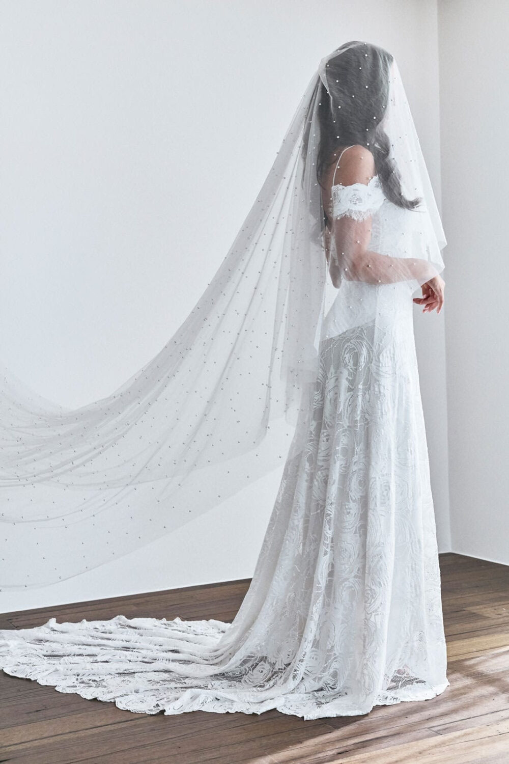 Amelia Veil With Pearls & A Blusher   Blusher Veil, Veil Pearls, Cape Wedding Bridal Accessories