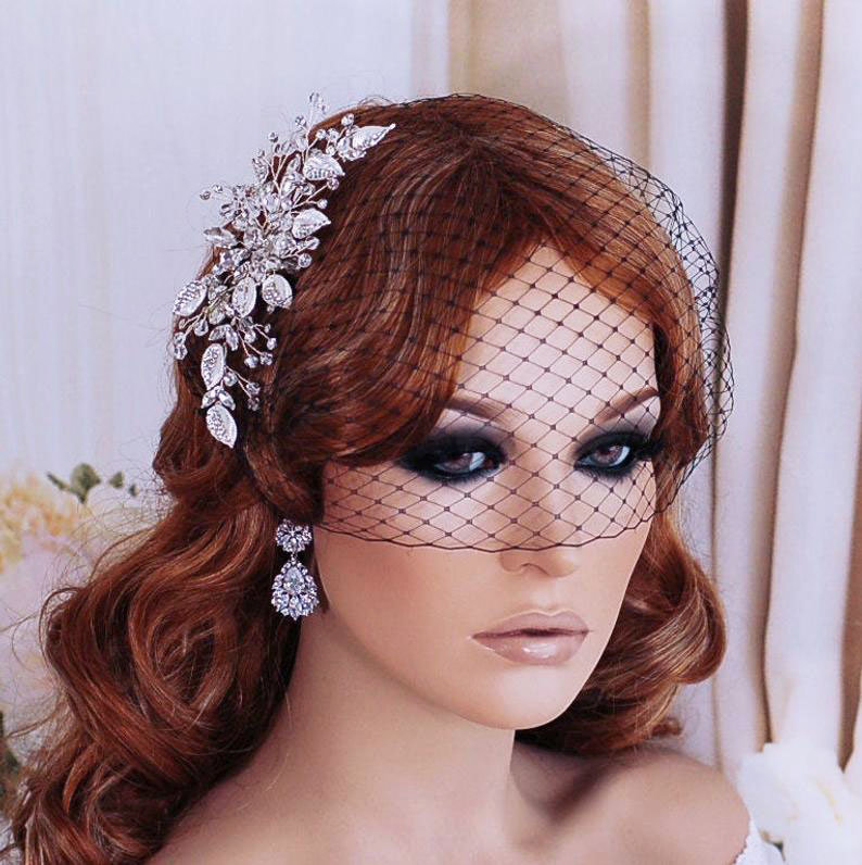 Black Bird Cage Birdcage Veil Bridal Hair Hairpiece Wedding Gothic Masquerade Accessory Funeral Headpiece Head Piece Comb Weddings Blusher