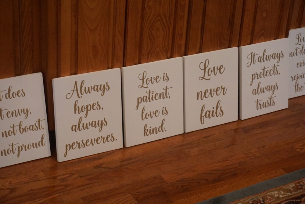 White Love Is Patient, Is Kind Aisle Markers. Never Fails Wedding Decor. 1 Corinthians 13 Signs. Sign