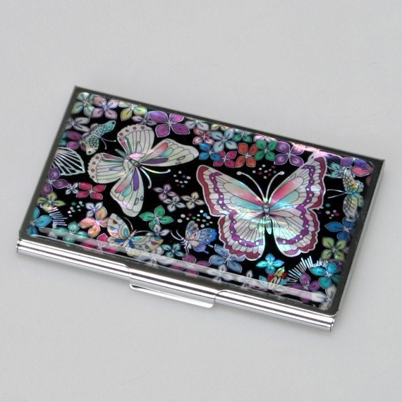 Mother Of Pearl Black Business Credit Name Card Holder Id Cash Money Case With Butterfly & Flower Design