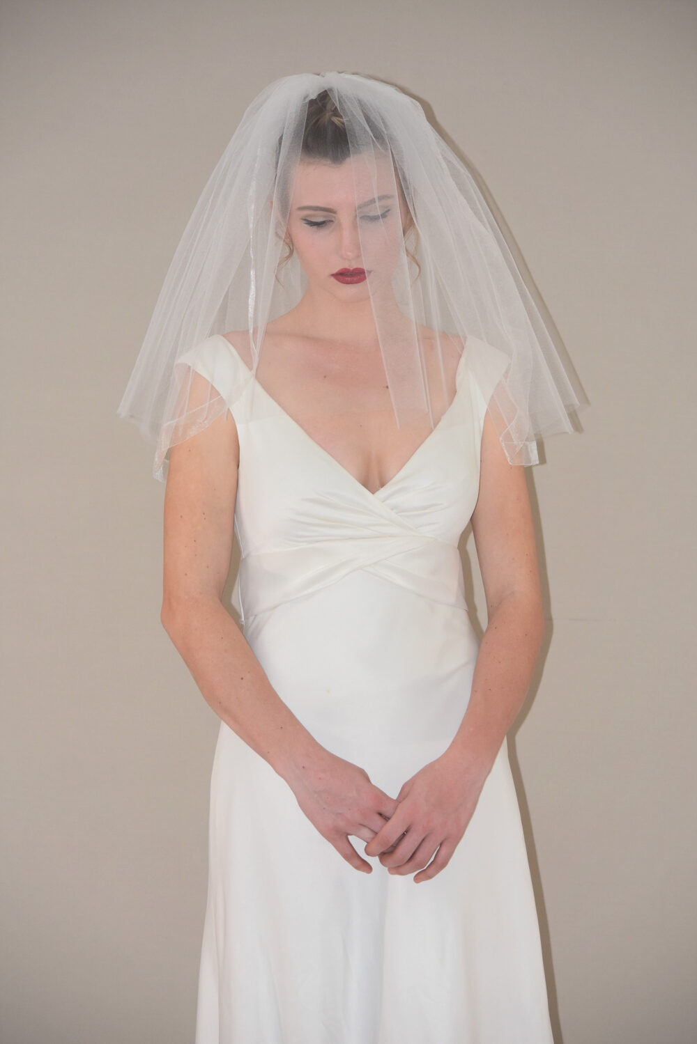 Blusher Veil With Organza Ribbon | Short Shoulder Double Tier Flyaway Two Wedding