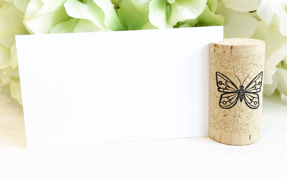 Wine Cork Place Card Holder Personalized Custom Name Placecard Themed Wedding Butterfly