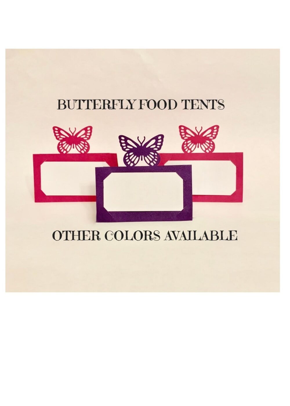 Butterfly Food Tents/Place Cards - Customizable Colors. Pick Your Colors