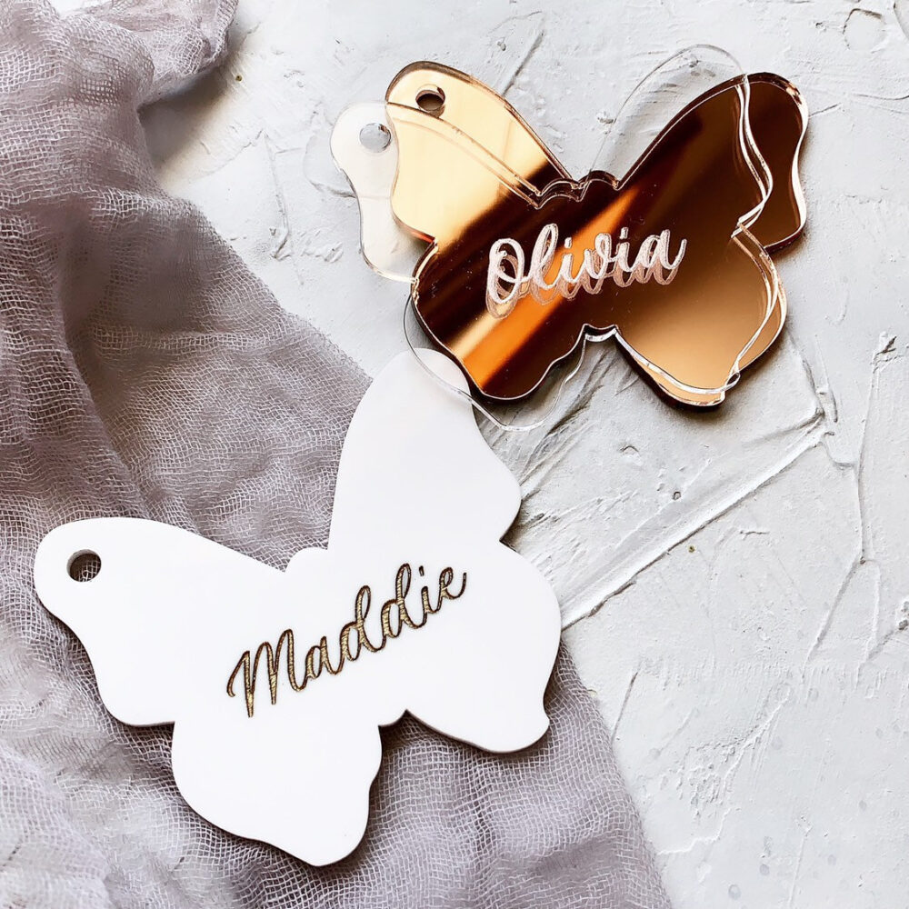 Personalized Butterfly Ornament Gift Tag - Place Card Custom Engraved Name Silver Plate Mirror Acrylic