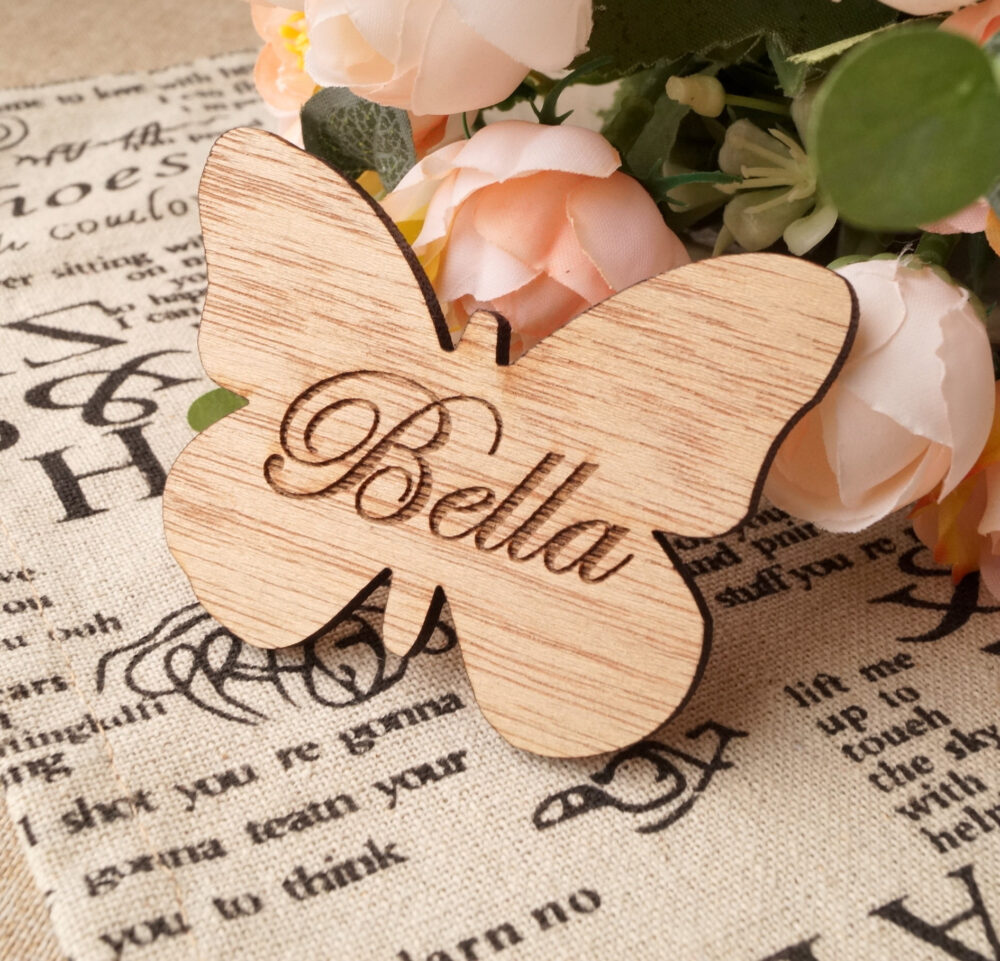 Wedding Place Tag Or Wedding Favor Magnet, Wooden Butterfly Name Tag, Favor, Card, Cards, Sign