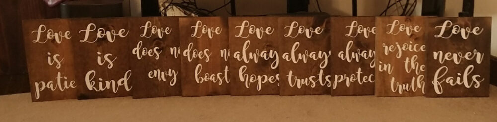 1 Corinthians 13 Rustic Aisle Wedding Signs - 9 Boards - Size 9x12, Love Is Patient, Kind, Never Fails - Includes Mr & Mrs Decal