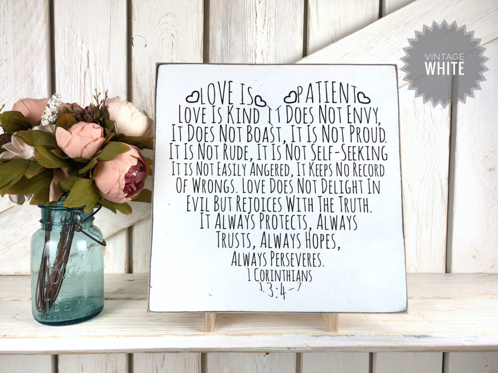 Love Is Patient/Wedding Sign 1 Corinthians 134-7 Bible Verse in A Heart Shape Gift
